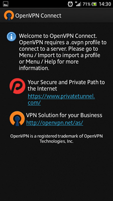 Picture for step 1 to install OpenVPN for Android