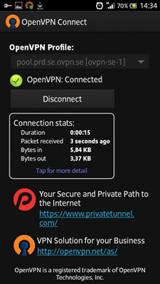 Picture for step 6 to install OpenVPN for Android