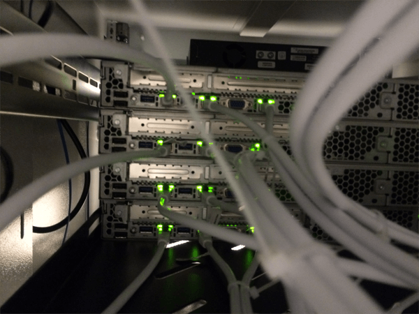Close-up on the back of the rack cabinet when open