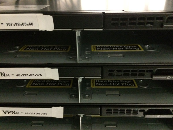 A closer look at the front of the servers