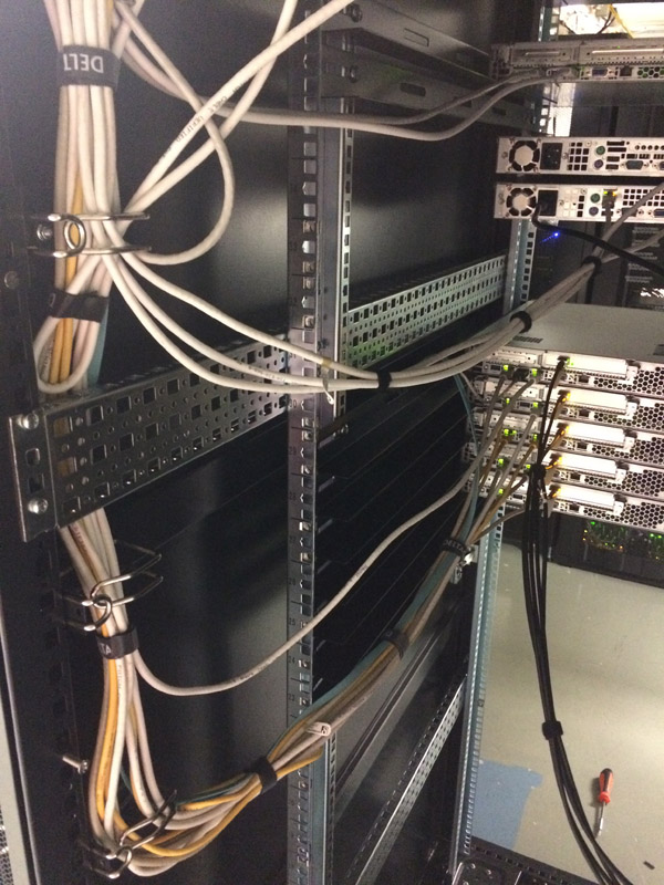 Cabling on the left-hand side of the server rack
