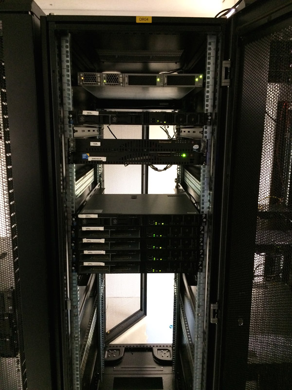 The front of the server rack in Stockholm
