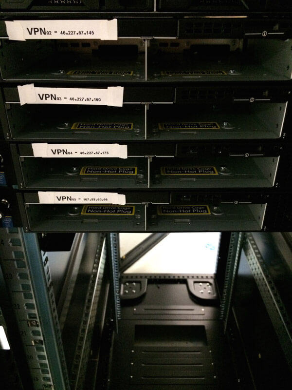 Close-up of the servers taken from the front